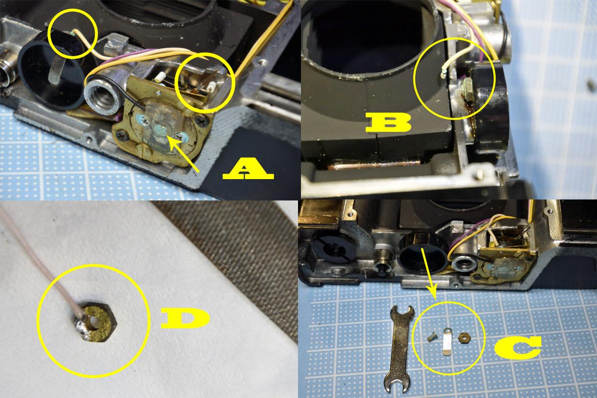 オリンパス35DC 電池ボックス配線修理