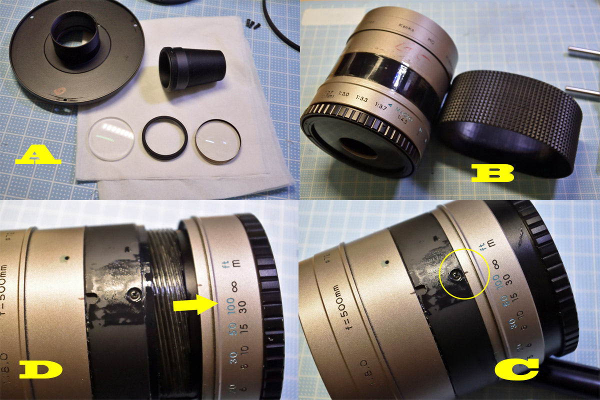 Kenko 500mm F8 ヘリコイド分解